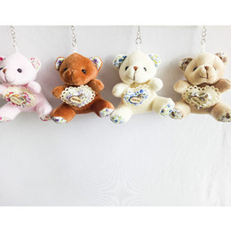 Wholesale Wholesale Teddy Bear Gift Bags - 9cm Printing Heart Teddy Bear Cartoon Stuffed Toy Plush Toy Pendant Bag Keychain Car Key Holder for Bag Hanging Wedding Christmas Gift