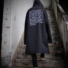Wholesale Trench Coat Hip Hop - Wholesale- VETEMENTS POLIZEI OVERSIZED Trench Rain Coat Bigbang GD Letter Seoul Men Windbreaker Waterproof KANYE Hip Hop Skateboard Jacket