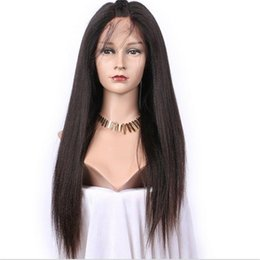 Wholesale Indian Remy Light Yaki - Human hair wig 1b yaki straight malaysian remy hair stock front lace wigs can ponytail free shipping