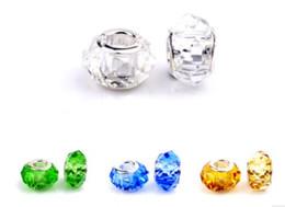 Wholesale crystal 925 big hole beads - 30Pcs 925 Sterling Silver Multicolour Crystal Handmade Murano Lampwork Glass Charm Beads Big Hole For Pandora European Jewelry Bracelet