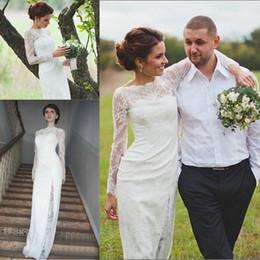 Wholesale Unique Designer Wedding Gowns - Unique Designer Country Wedding Dresses Long Sleeve Full Lace Scoop Keyhole Back Bridal Gowns for Garden Weddings