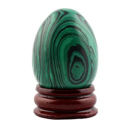 Wholesale Wood Carving China - Malachite Crafts 40*30mm Egg wood stand Natural Carved Bell Chakra Healing Reiki Crystal Crafts Free pouch
