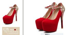 Wholesale High Heel Platform Mary Jane - Large Size 34-39 Women's Pumps 2017 Mary Jane Strap Wedding Banquet Shoes Womans Metallic Shawl Chains High Heels Platform Pumps