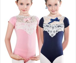Wholesale Gymnastics Wear - 100% soft cotton and lace connect girls dance training conjoined suit gymnastics wholesale opened crotch for 90-135cm tall ballet dance wear