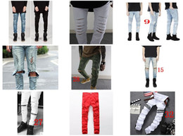 Wholesale Cool Designer Jeans - Fashion Men's Distressed Ripped Jeans Famous Fashion Cool Designer Slim Motorcycle Biker Causal Denim Pants Runway Jeans