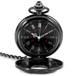 Новые прибывают горячие ретро Римский античный панк стиль кварцевое ожерелье + кулон ювелирные изделия карманные часы арабские римские цифры черный от