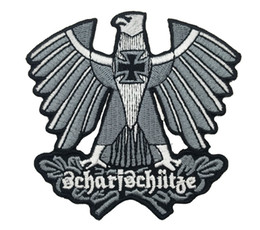 Wholesale Eagle Embroidered Patches - WHOLESALE PRICE GERMAN ARMY SHARPSHOOTER SNIPER EAGLE CROSS EMBROIDERED IRON PATCH MORALE MILITARY SHIELD SHOULDER BADGE FREE SHIPPING