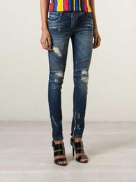 Wholesale Recycled Cotton - Women jeans Blue Distressed Ribbed Zip Moto Skinny Denim Jeans 30 Brand New Sz 26.27 28 29 30