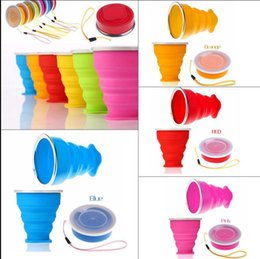 Wholesale Wholesale Collapsible Mug - 200ml Portable Water Bottle Silicone Outdoor Foldable Travel vacation Drinking Bottles Collapsible Drink Mug Water Cup KKA1932
