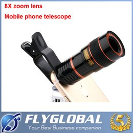 Wholesale Telescope For Mobile Phone - 2017 Universal HD 8X Zoom Mobile Phone Telescope Lens with Clip for Samsung Iphone Ipad Cell Phone Lens