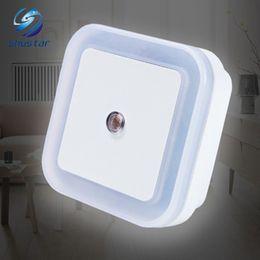 Wholesale Led Night Light Sensor Plug - Light Sensor Control LED night light mini EU US Plug novelty square Bedroom lamp For Baby Gift Romantic Colorful Lights