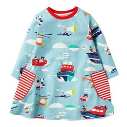 Wholesale Long Sleeve Tunic Baby - Baby Girls Dresses Long Sleeve Robe Fille 2017 Brand Autumn Children Dress Kids Clothes Printed Tunic Princess Dress with Pocket