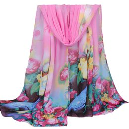 Wholesale Shop Shawls - Wholesale-Brand new 2016 Stylish Women Long Stole Soft all-match Chiffon Scarf Shawls Floral Print Wraps&Scarves Online Shopping Gift 1pcs
