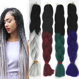Wholesale Xpression Braiding Hair Wholesale - Women Xpression Braiding Hair Two Tone Crochet Synthetic Bulk Braiding Hair Extensions Senegalese Jumbo Twist Braids Hairstyle