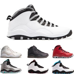 Wholesale Ladies Black Silver Shoes - 2017 air retro 10 men basketball shoes Steel Grey ovo white black Powder Blue Lady Liberty Chicago GS Fusion Red Bobcats sneakers