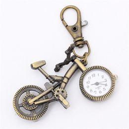 Wholesale Popular Bicycle - Wholesale- Hot Popular Men Women's Cute Pocket Watch Bronze Quartz Vintage Pocket Watch Bicycle Movement Keychain Keyring Watch