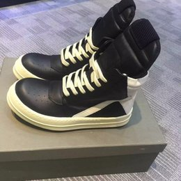 Wholesale Original Quality Brand New Owens Geobasket Genuine Leather Sneakers In Black Man White Original Big Size High top Fashion Shoes Boots