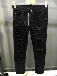 Wholesale Slim Fit Green Men - 2017 New arrival famous luxury italian Brand factory slim fit summer fashion patchwork denim ripped zipper biker skinny jeans hole for men