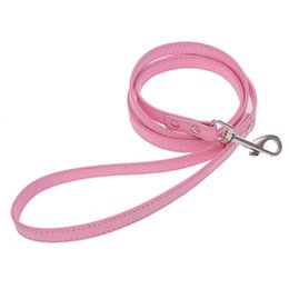 Wholesale Black Dog Training - Good Quality Leather Pet Plain Leash Small Large Dog Cowhide Lead Rope Fashion Dog Training Leash Pink Black Blue White Red Color 10PCS LOT