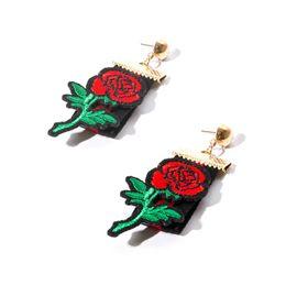 Wholesale Diamond Stud Drop - Elegant Rose Flower Charm Stud Earring Fashion Black Hollow Out Lace Dangle Earrings Vintage Gothic Drop Earrings For Women