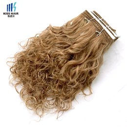 short curly human hair weave Coupons - Brown Auburn Honey Blonde Wet Curly Human Hair Weft Wet and Wavy Remy Human Hair Weave Short Bob Style Kiss Hair Piano Color