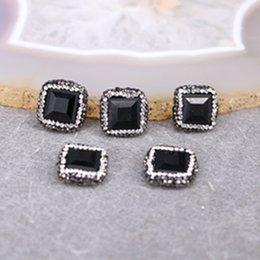 Wholesale Crystal Glass Faceted Stones - 10pcs Black Crystal Glass Connector Spacer Beads, with Crystal Zircon Paved Black Faceted Crystal Beads Jewelry Findings