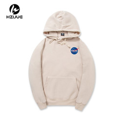 Wholesale Pink Hoodies Men - 2017 XXL NASA Hoodie Streetwear Hip Hop Khaki Black gray pink white Hooded Hoody Mens Hoodies Sweatshirts XXL Plus Size