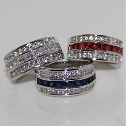 Wholesale ruby white diamond ring - Victoria Wieck Princess Men Fashion Jewelry 10KT White Gold Filled Sapphire&Ruby&Topaz CZ Diamond Gemstones Party Popular Wedding Band Ring