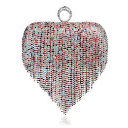 Wholesale Mix Color Handbag Shoulder Bag - Wholesale- One Side Women Evening Bags Tassel Fashion Lady Finger Ring Diamonds Purse Evening Bag Mixed Color For Wedding Party Handbags