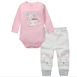 Wholesale Newborn Clothes China - 2pcs Baby Girls Boys Clothes Set Long Sleeve Rompers And Pants Roupa Infantil Menina Menino Bebe Newborn Clothing China KF092