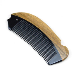 Wholesale Fine Beard - comb YOZIRON Pocket Wooden Comb Natural Green Sandalwood Super Narrow Tooth Wood Combs No Static Lice Beard Comb Hair Styling P016