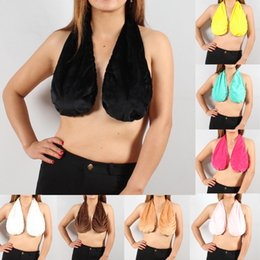 Wholesale Red Color One Pieces - 2017 Ta ta Towel Boob Sweat Bra Women Sexy Soft Ta-Ta Towel Bra Hanging Neck Wrapped Big Chest Comfortable Sweat Towel Underwear 8 Colors