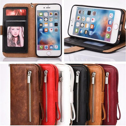 Canada Pour iphone 7 plus Premium Zipper Wallet Magnetic Case Porte-cartes Porte-monnaie en cuir Flip Case Cover Hand Strap Offre