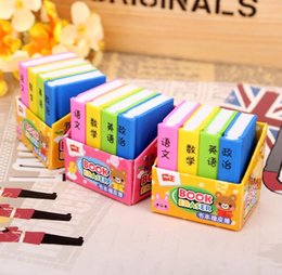 Wholesale Stationery Gift Pack - Wholesale- 4 Pcs   Pack Creative Book Style Pencil Eraser Kid Stationery School Office Supply Children Education Gift Prize