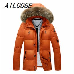 Wholesale Fur Coat Parka - Wholesale- 2016 New Thick Warm With Raccoon Fur Collar Hood Jacket Men Winter Coats Casual 90% White Duck Down Mens Jackets And Coat Parkas