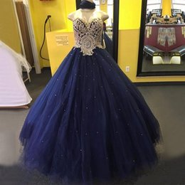 Wholesale Sweet Water Pearls - Gorgeous Navy Blue Ball Gown Quinceanera Dresses 2017 Sweetheart Pearls Crystals Tulle Floor Length Long Sweet 16 Ball Gowns