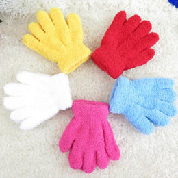 Wholesale Knitted Glove Kid - Girls Gloves Children Kids Winter Knitted Gloves Candy Colors Full Finger Stretch Gloves Students Gloves Boys Gloves Warmer Mittens 2075