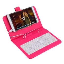 Wholesale Keyboard Cover Tablet Inch - Wholesale- In stock! 7 inch Premium PU Leather Case Cover With USB Keyboard for Tablets Phones 4 COLOR Newest
