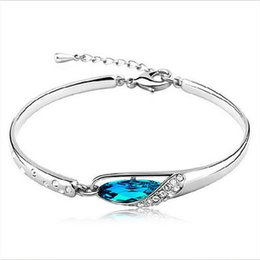 Wholesale Wholesale Plate Glass Prices - Hot Gift Factory Price New Style Charms Blue Austria Crystal Bangle Bracelet Glass Shoes Hand Jewelry