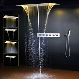 Wholesale cold hot water faucet - Modern LED Bathroom Shower Set Accessories Faucet Panel Tap Hot and cold water Mixer LED Light Ceiling Shower Head Rainfall Waterfall Shower