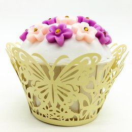 Wholesale decorative christmas gift boxes - Butterfly laser cutting cupcake wrapper wed marriage cupcake decorative wrapping party gifts multi colors free ship