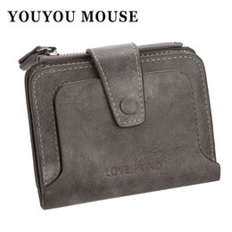 Wholesale Bit Coins - YOUYOU MOUSE Fashion Retro PU Leather Wallet Short High Capacity Multi-bit Zip Coin Purse Hasp Solid Color Small Money Purse