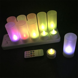Wholesale Electric Candle Christmas - 12pcs set RGB LED Electric Candles Remote Control Rechargeable Tea Light LED Candles Flameless Tealight multi-color Changing candle lamp