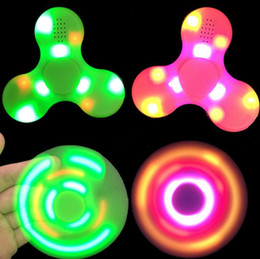 Wholesale Wholesale Tip Up Lights - LED Light Up Bluetooth Hand Spinners Fidget Spinner Top Quality Triangle Finger Spinning Top Colorful Decompression Fingers Tip Tops Toys