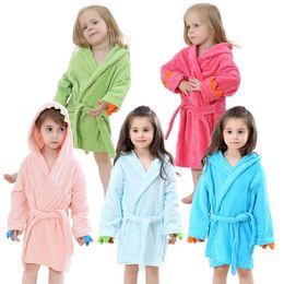 Wholesale Child Cotton Bath Robe - baby kids child thick cotton flannel night-robe bathrobe cute cartoon bath towel hooded warm winter autum