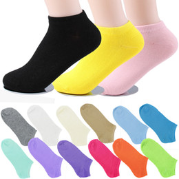 Wholesale Crew Cuts Girls - Wholesale-Hot New Women's Socks Cotton Short Ankle Boat Low Cut Socks Crew Casual calcetines Girls Cute Socks 15 Candy Colors Z1