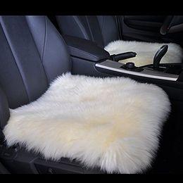 Wholesale Sheepskin Car Cushion - New 18 Inch Luxurious Sheepskin Long Wool Car Seat Covers Chair Pad(One Seat Cover)