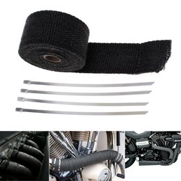 Wholesale Roll Wraps - High Quality 16.5Ft Roll Black Fiberglass Exhaust Header Pipe Heat Wrap Tape + 4 Ties Kit CAL_602