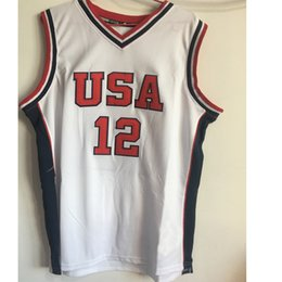 Wholesale Double Outlet - Double Stitched and Embroidery Ray Allen #12 Team USA Basketball Jersey Navy White Custom Any Number XXS-6XL Factory Outlet