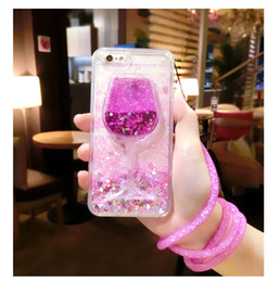 Wholesale Iphone 5s Cradle - Glitter Liquid Red Wine Cases Soft TPU Shining Bling Style For IPhone 7 Plus 6S Plus 5S Cradle